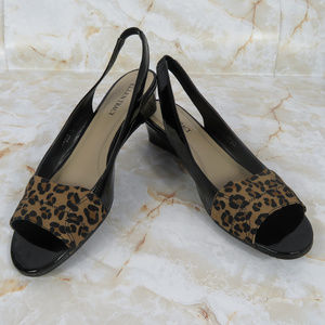 Ellen Tracy Leopard Slingbacks
